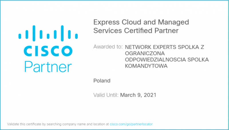 Network Expert - Cisco Express Cloud and Managed Services Certified Partner