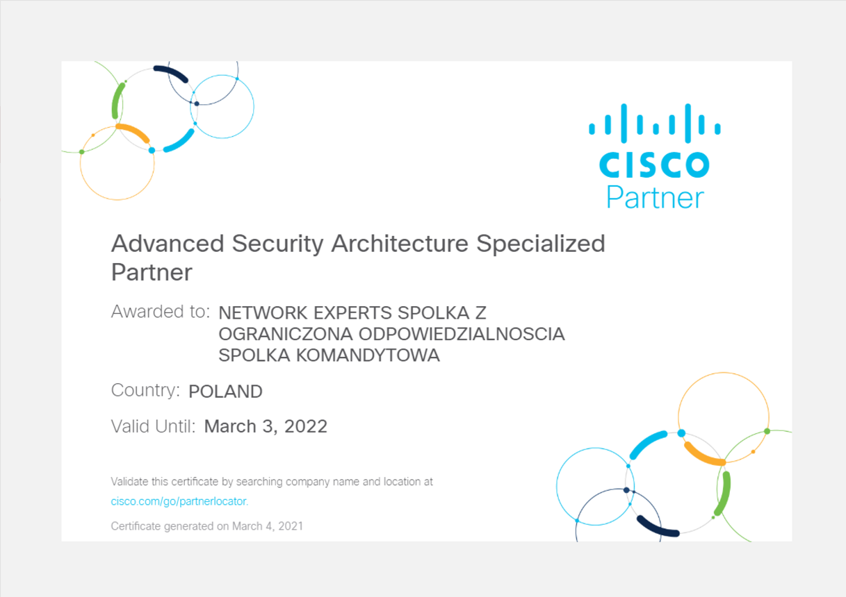 Certyfikat Cisco Advanced Security Architecture