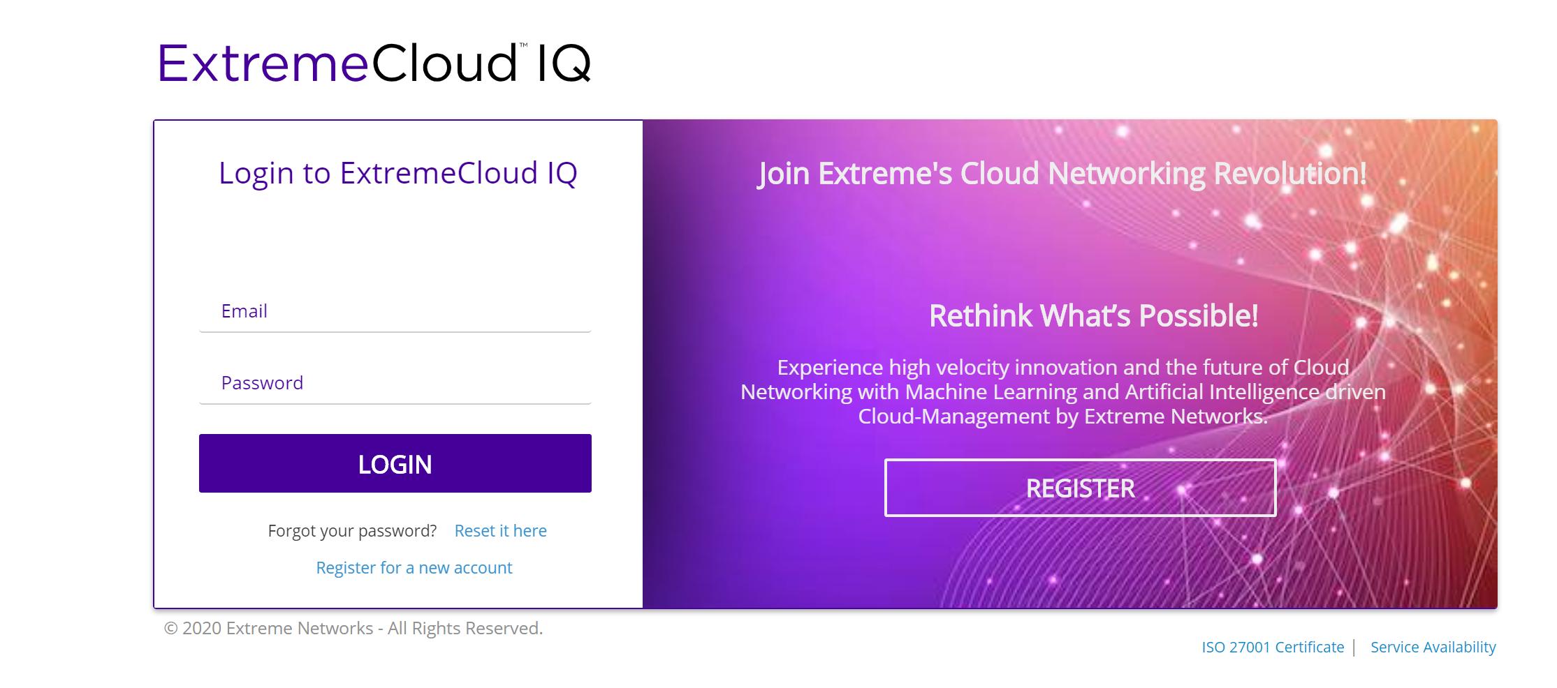 ExtremeCloud IQ okno logowania irejestracji