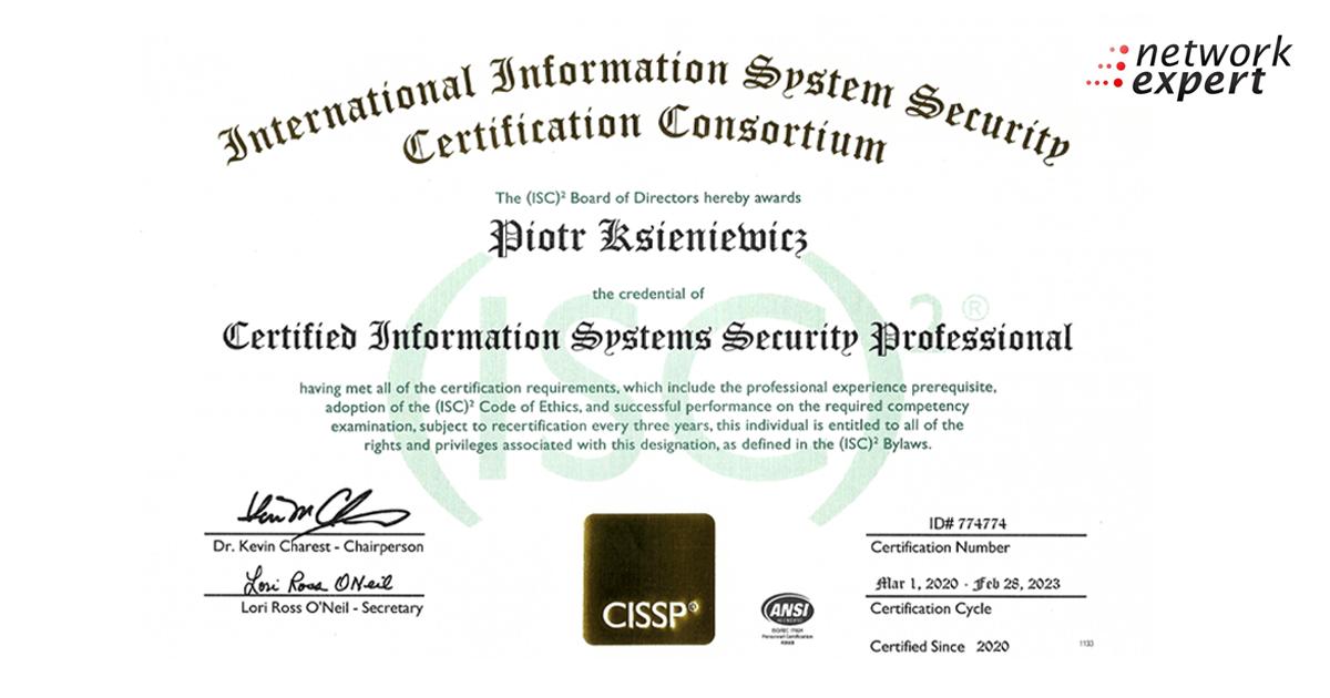 CISSP - Certyfikat dla Piotra Ksieniewicza