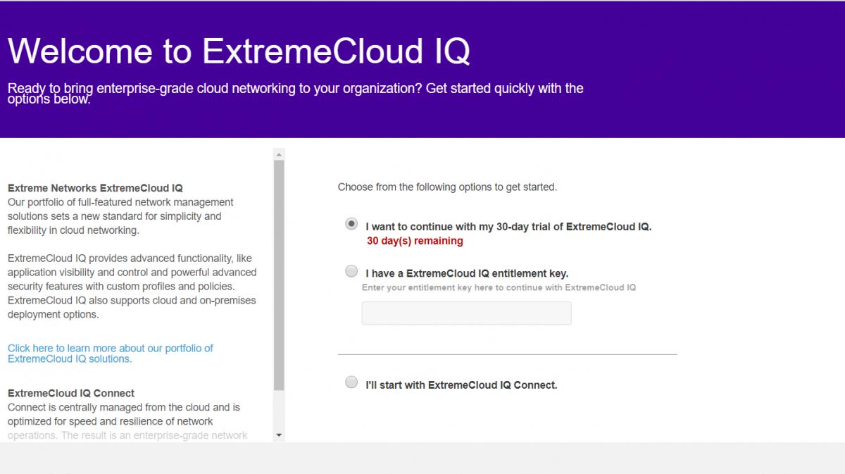 Wybór pakietu ExtremeCloud IQ